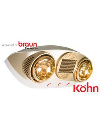 Đèn sưởi nhà tắm Kohn Braun KU02PG - 2 bóng vàng, có quạt
