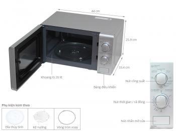 Lò vi sóng Sharp R-G226VN-S - Có nướng, 20 lít, 1000W