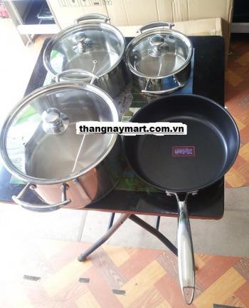 Bộ nồi bếp từ Bauer 4 chiếc cao cấp có chảo