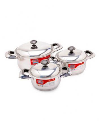 Bộ Nồi Inox 3 Đáy Cao Cấp SUNHOUSE SH333 - Hàng Chính Hãng, Dùng Cho Mọi Loại Bếp