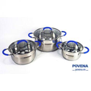Nồi inox 5 đáy Povena PVN-C5 thiết kế đẹp mắt, bộ 3 nồi cao cấp, đáy từ